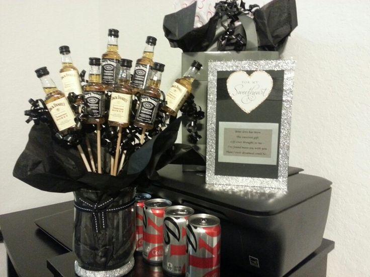 Handmade card, birthday gift and jack liquor bouquet for my boyfriends birthday