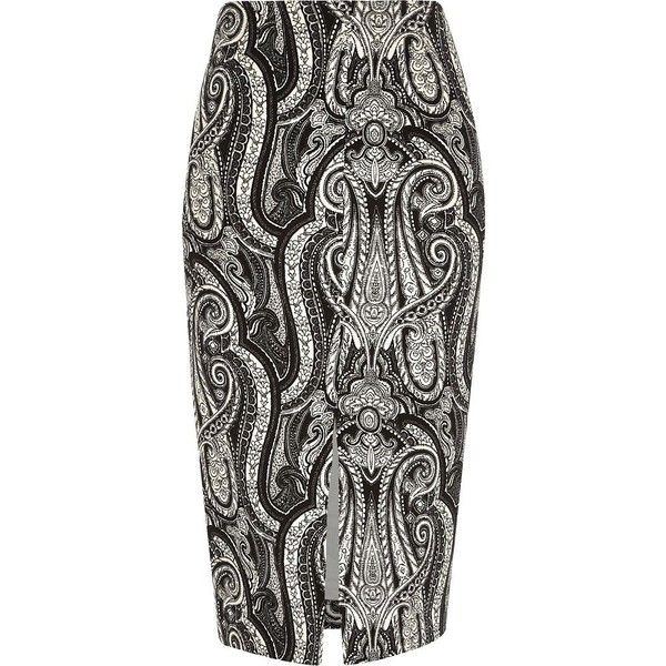 River Island Black paisley print split front pencil skirt ($30) ❤ liked on Polyvore featuring skirts, black, sale, women, fitted skirts, paisley skirt, knee length pencil skirt, pencil skirt and river island