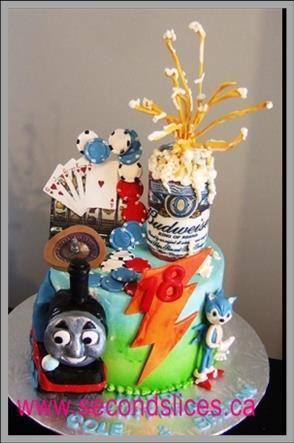 Custom Birthday Cakes Thomas the Train, Beer, Cassino