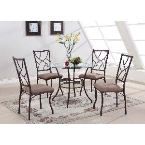 Kitchen Tables for Small Places | PC. Set Small Round Glass and Metal Dining Room Kitchen Table And 4 ...