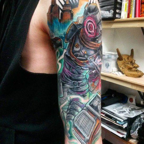 @davewclayton did some more of this #bioshock piece. #prahran #tattoo #tattoos #bodyart #tattooworkers #tattooistartmag #inkandhonor #tattoos_alday #thebesttattooartists #solidink #support_good_tattooers