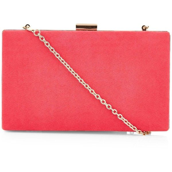 New Look Bright Pink Suedette Box Clutch (345 ARS) ❤ liked on Polyvore featuring bags, handbags, clutches, bright pink, new look purses, bright pink handbag, red purse, hard clutch and box clutch
