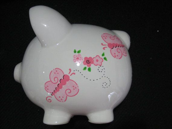 Personalized   Piggy Bank Flowers Butterfly by KUTEKUSTOMKREATIONS, $22.99