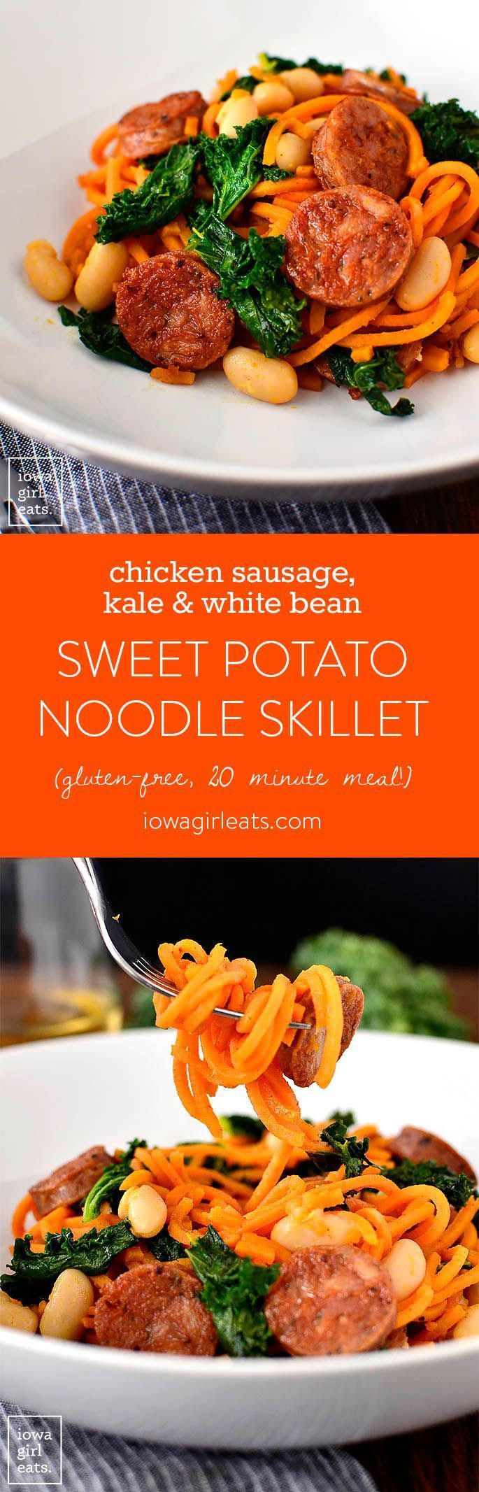 Chicken Sausage, Kale and White Bean Sweet Potato Noodle Skillet is a quick and healthy gluten-free dinner recipe. Ready in 20 minutes or less and full of protein, fiber, and vitamins!   http://iowagirleats.com