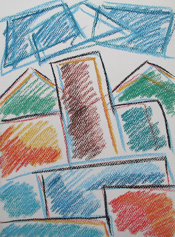 City in summer #art #pastels #drawing #japan #city #summer #abstract #warm
