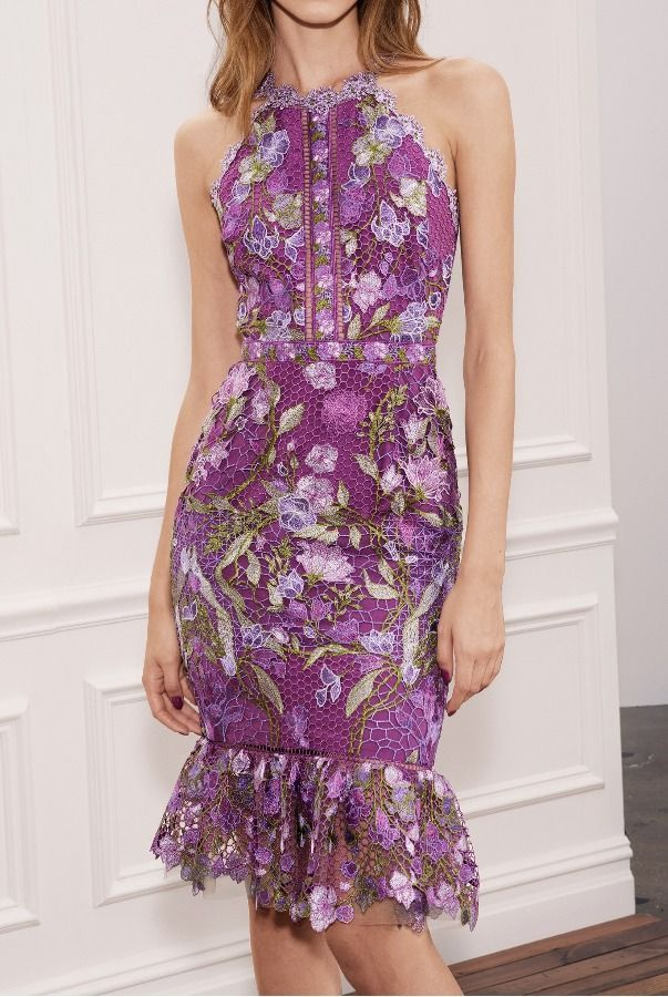 f38fe033b70 Marchesa Notte Spring 2018 RTW  Lovely purple cocktail dress with floral  embroidery. Shared by cinderelamodernizada. Marchesa Notte Purple  Sleeveless ...