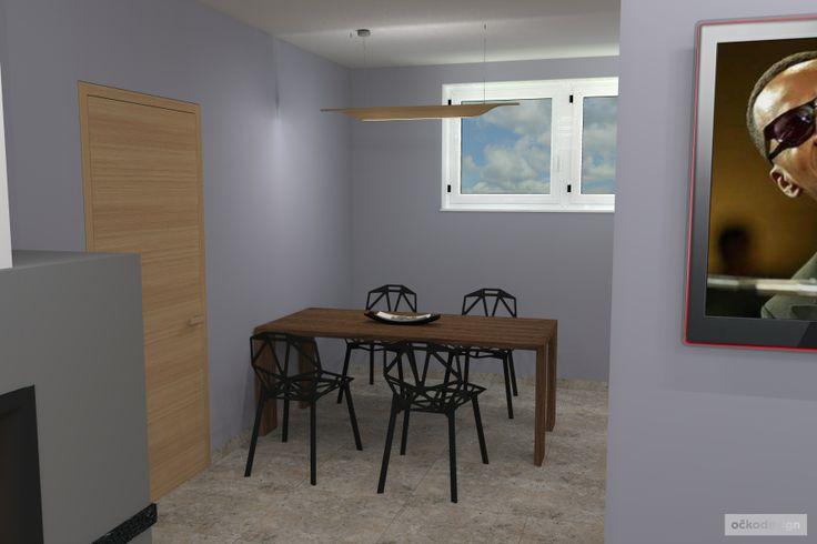 ..minimalistické osvětlení nad stolem je záměrně decentní (foscarini troag). Petr Molek interiérový design www.ockodesign.cz