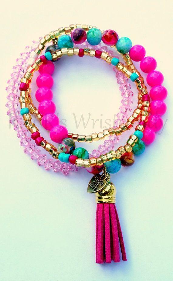 Boho Pink Beaded Bracelet Set MinimalistSeed by RandRsWristCandy $12