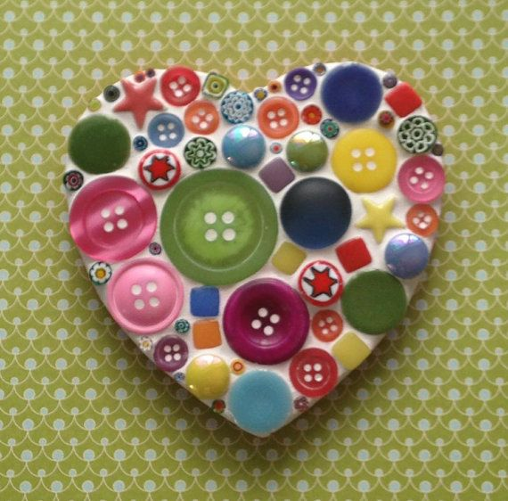 Do It Yourself Funky Mosaic Heart Kit by LilyMosaicsbyLis on Etsy, £10.95