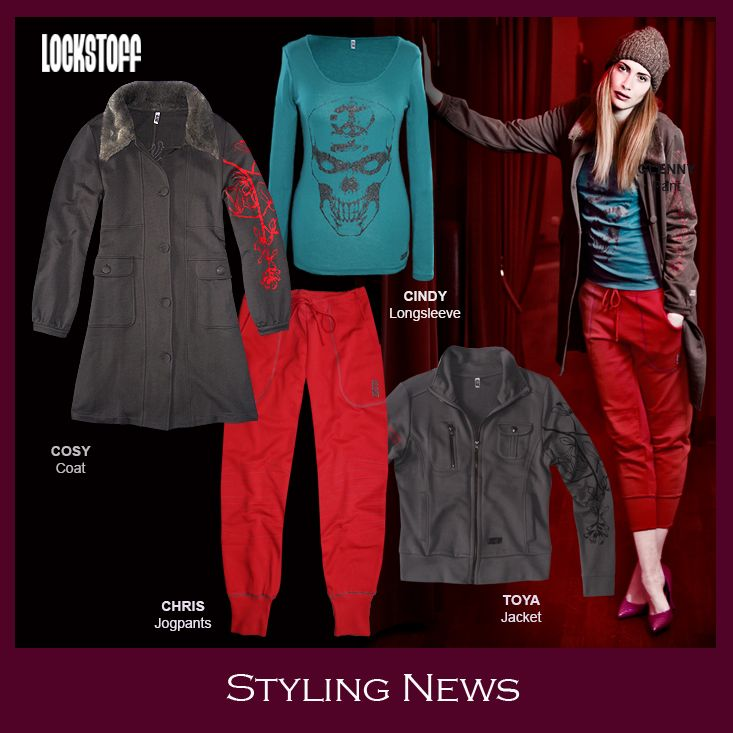 Styling News from LOCKSTOFF... COSY coat, CINDY longsleeve, TOYA bikerjacket, CHRIS jogpant #mode #fashion #casual #styling #outfit #red #grey #petrol #colours