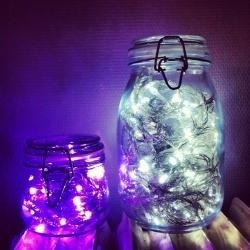 Jars with Light  I may have hastily judged this idea last year, but can see dozens of solar powered strands in carefully altered mason jars hung from trees from fishing line at different heights. ~ Eagle Home Renovations