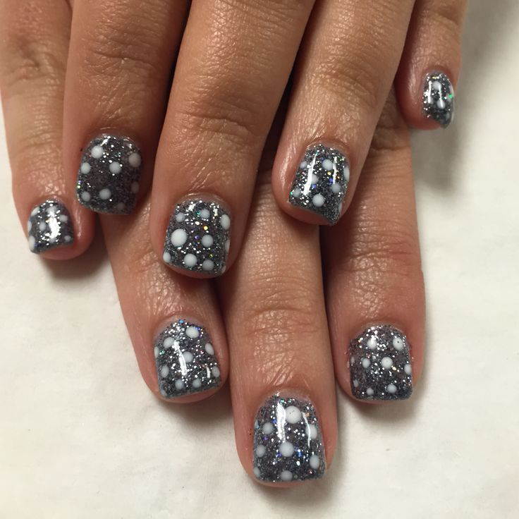 Titanium sparkle with white polka dots
