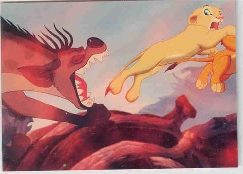 Walt Disney's The Lion King - Simba Hyenas Villain  Disney Lion King trading card. The Hyena close in with their sharp teeth protruding and mouths watering. Shenzi, Banzai and Ed Close in on Simba and Nala. The hyenas' laughter sends chills down Simba's spine.