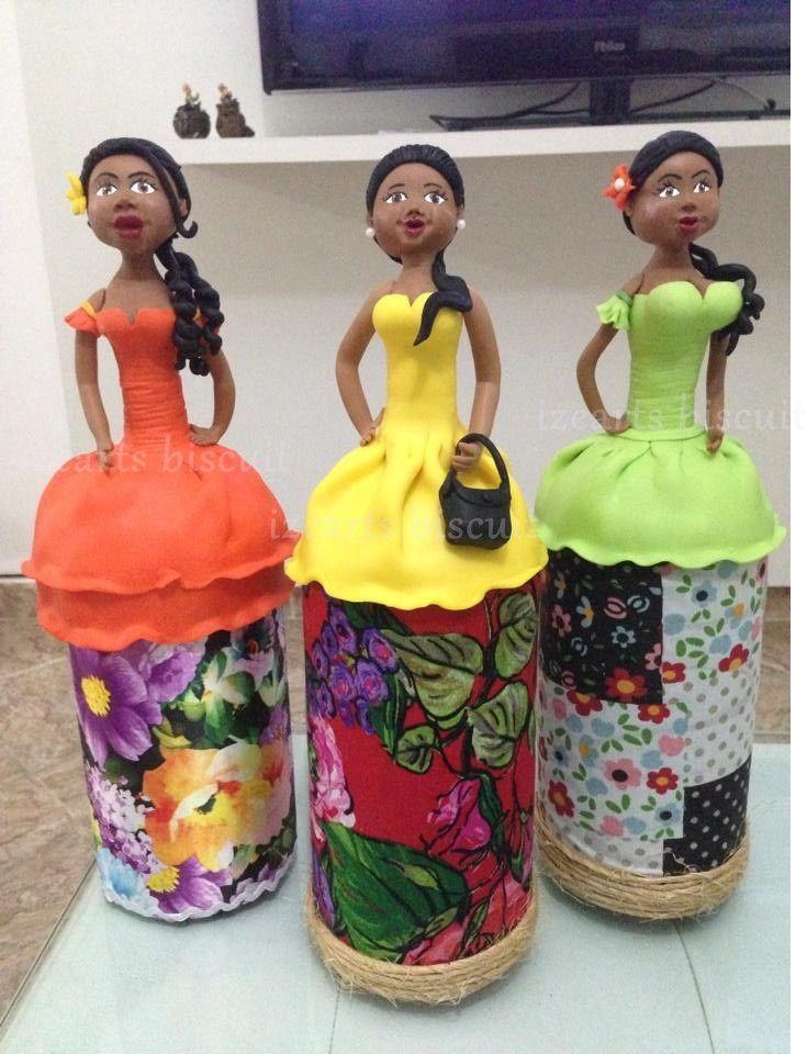 bonecas em biscuit feitas em garrafas de 1 ou 2 litros