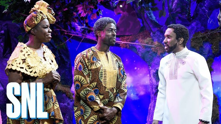 Black Panther New Scene - SNL  When T'Challa (Chris Redd) travels to Djalia, he meets his great, great grandfather (Sterling K. Brown), great aunt (Leslie Jones) and Uncle M'Butu ...