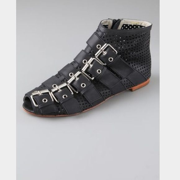 Candela NYC Five Strap Open-Toe Flat booties These BRAND NEW, never worn, flat perforated-leather booties feature a peep-toe and 5 buckled straps and side zip closure. No box. Candela  Shoes Ankle Boots & Booties
