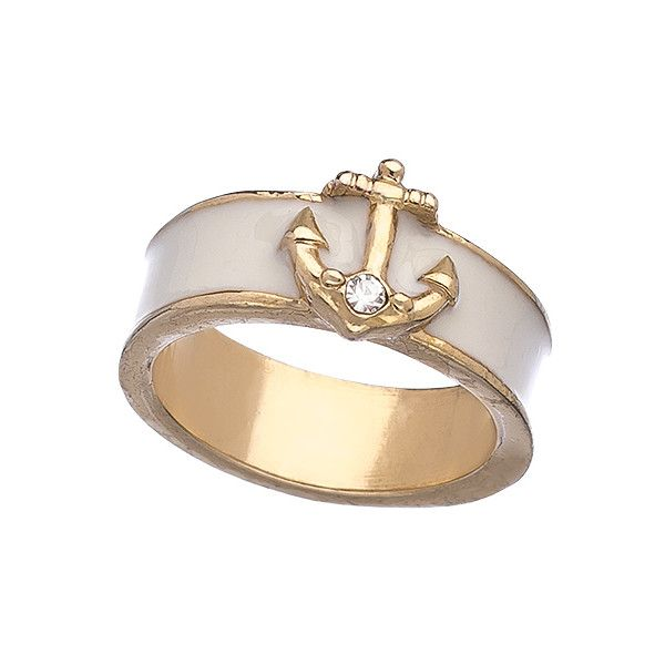 Blu Bijoux White Enamel Nautical Ring ($17) ❤ liked on Polyvore featuring jewelry, rings, bracelets, nautical jewelry, band bracelet, enamel bracelet, nautical anchor bracelet and anchor bracelet