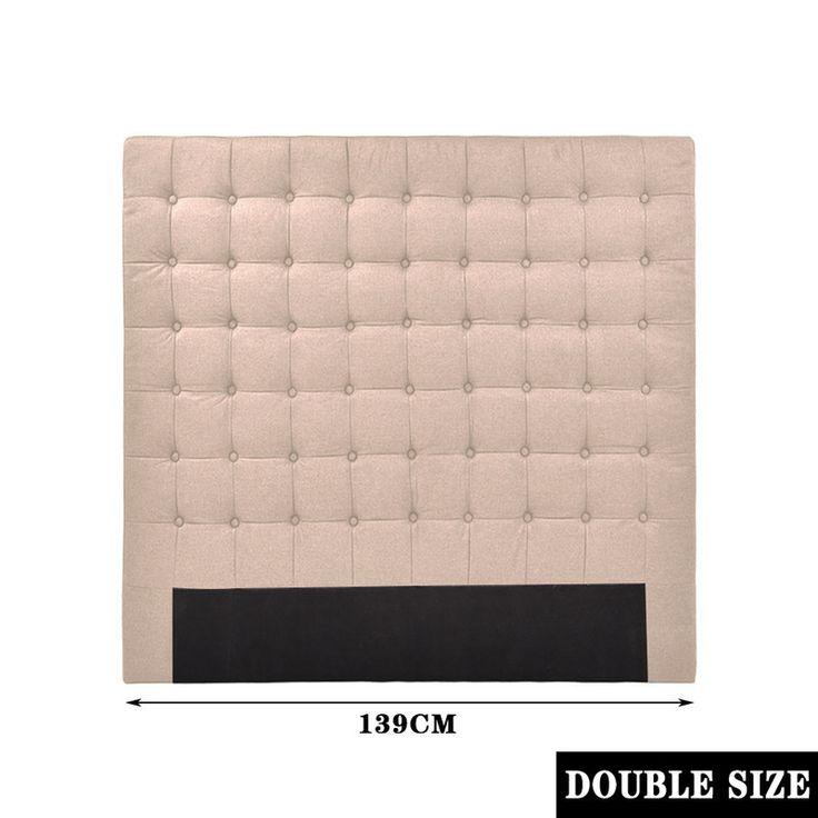 Grid Seamed tufted Fabric Double Headboard in Beige | Buy Double Size Headboard