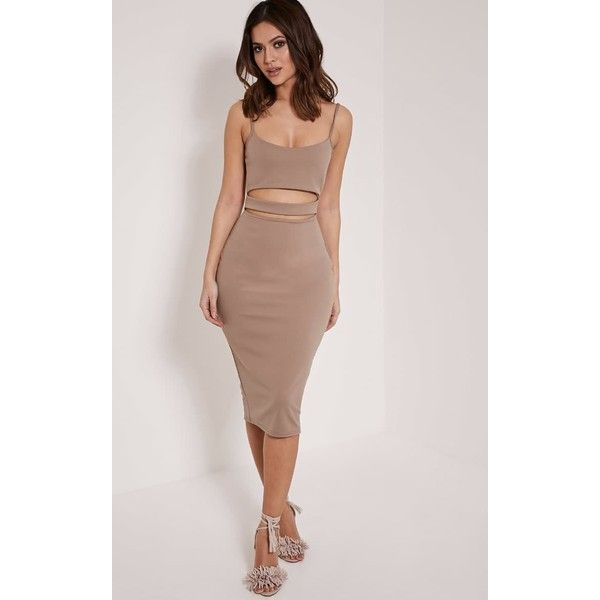 Kheelie Taupe Cut Out Midi Dress ($15) ❤ liked on Polyvore featuring dresses, brown, sexy night out dresses, party dresses, sexy dresses, midi party dresses and midi dress