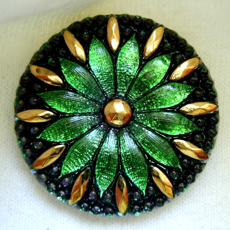 LG Czech Glass Button - Emerald Green Mirror Back DAISY w/ Faceted Gold Luster…