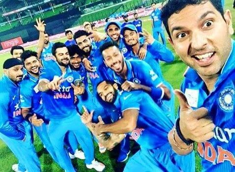 And the Winning selfie from Yuvraj Singh! #Asiacup #Champions #India #AsiaCupT20Final