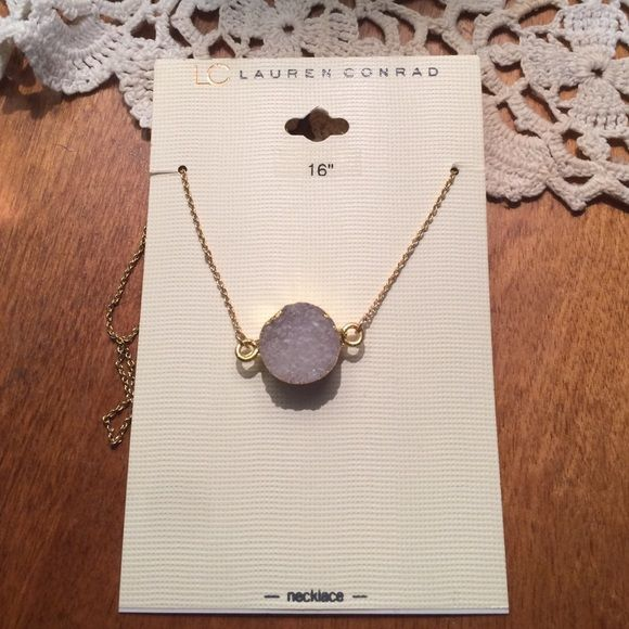 LC Lauren Conrad purple  stone necklace LC Lauren Conrad purple tinted crystal stone necklace. BNWT 16 inch adjustable gold plated necklace. ❌No trades! LC Lauren Conrad Jewelry Necklaces