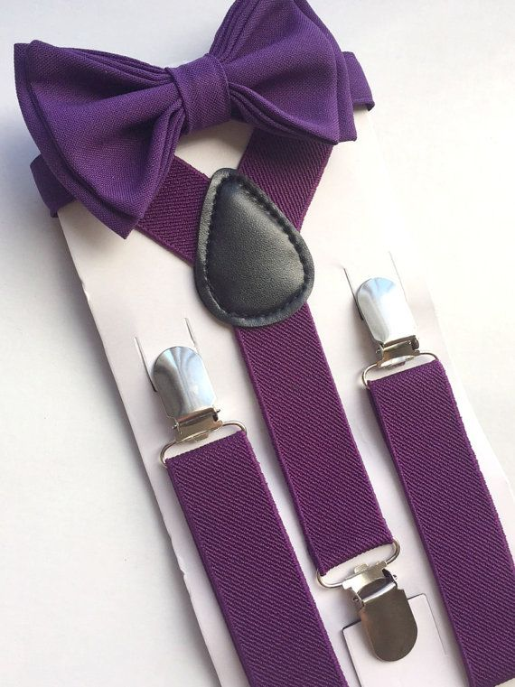 Plum Suspenders & Eggplant Purple Bow Tie -- Ring Bearer Outfit -- Bow Tie…
