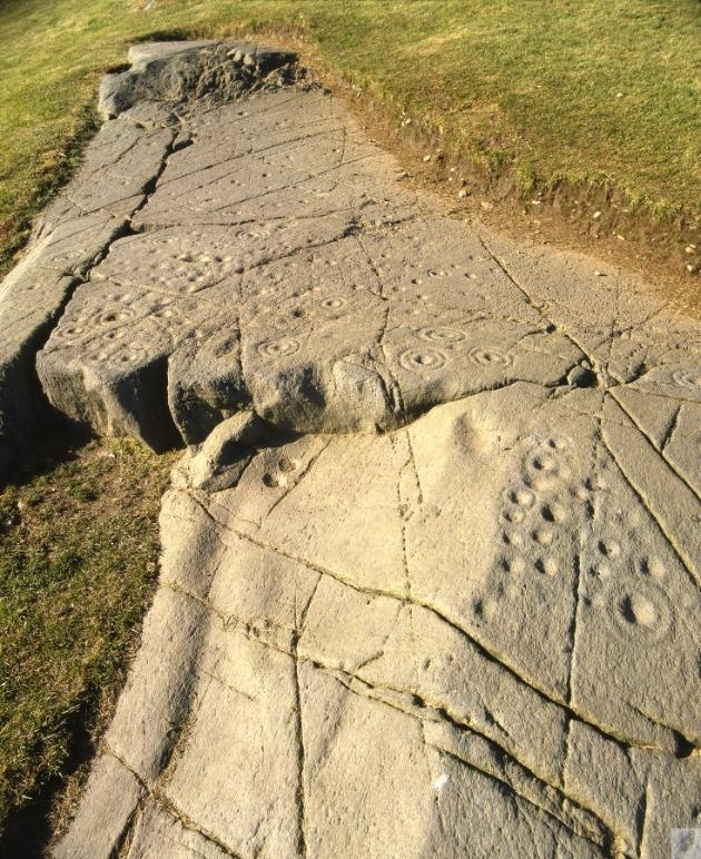 Kilmartin Glen Baluachraig Cup and Ring Marks, Central & West. These stones are carved with mysterious prehistoric art.