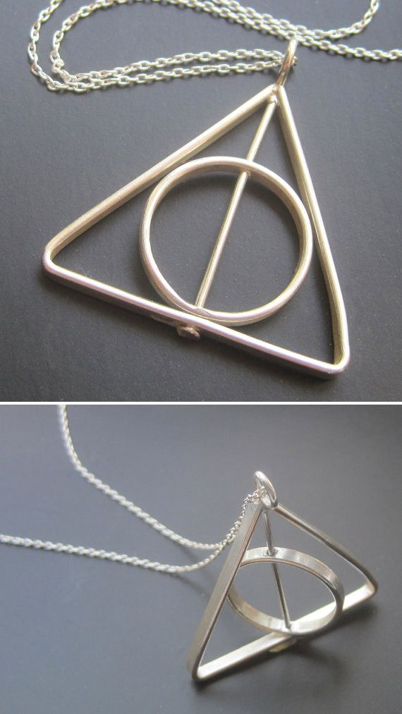 Harry Potter Deathly Hallows necklaces.  Handmade with a spinning center ring!
