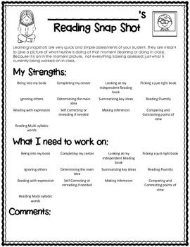 Reader's Workshop Quick Assessment {Snap Shot Page} FREE