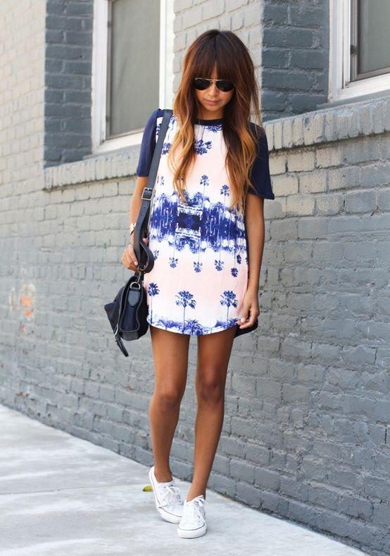 Blue and white t,shirt dress