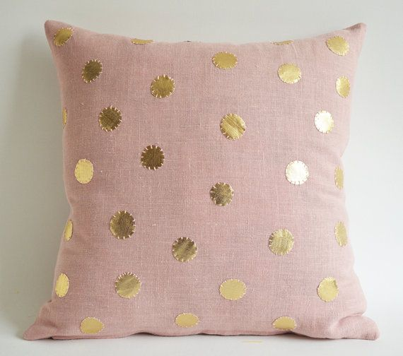Sukan / Pink Linen Pillow Cover  sukan pillow  polka by sukanart, $65.00 (THIS WOULD LOOK SO PRETTY ON THE GLIDER IN THE NURSERY)
