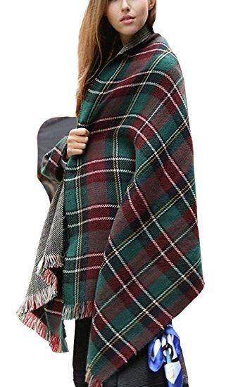 Urban CoCo Women's Soft Tartan Checked Plaid Scarf Shawl Cape Blanket Shawl Wrap Scarf Poncho with Fringe Trims (Series 2 green)