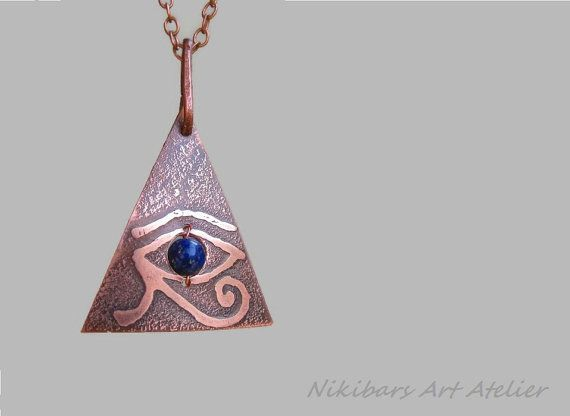 Horus Eye Necklace Etched Copper Occult by NikibarsNatureArt