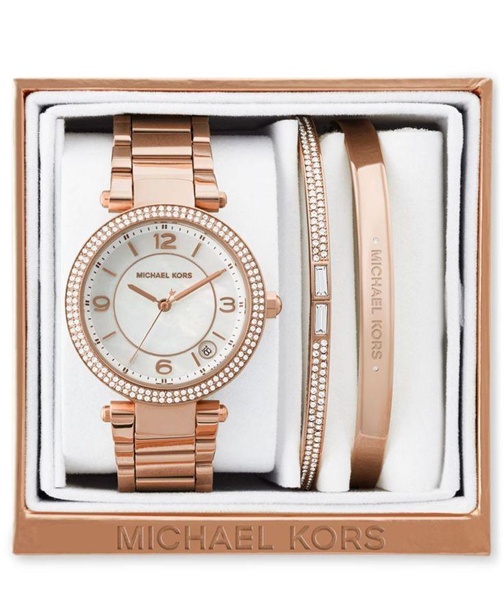 Michael Kors Women's Mini Parker Rose Gold-Tone Stainless Steel Bracelet Watch and Bracelets Box Set 33mm MK3506