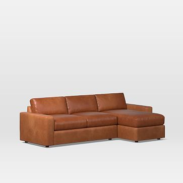 Urban Sectional Set 17: Left Arm Sleeper Sofa, Right Arm Storage Chaise,  Poly, Parc Leather, Cement, Concealed Supports