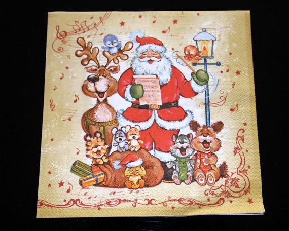 Set of 4 decoupage paper napkins Winter theme. by ramonaignat