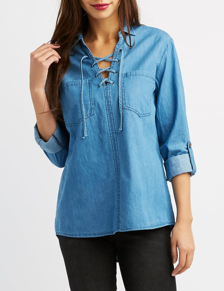 A lightweight chambray fabric shapes this adorable top, that is perfect for any day time looks! Skinny strings weave through metal grommets for a chic lace-up detail at the V-neckline, while two pockets offer extra storage at the bust! Slits at the sides make for an edgy addition, and long sleeves look cute released or cuffed with the help of roll tab sleeves!
