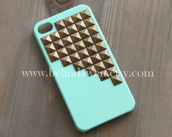 studded iphone 4 case, antique brass pyramid stud mint green iPhone 4/4S case, case for iphone 4/4S, Hard iphone case, steampunk