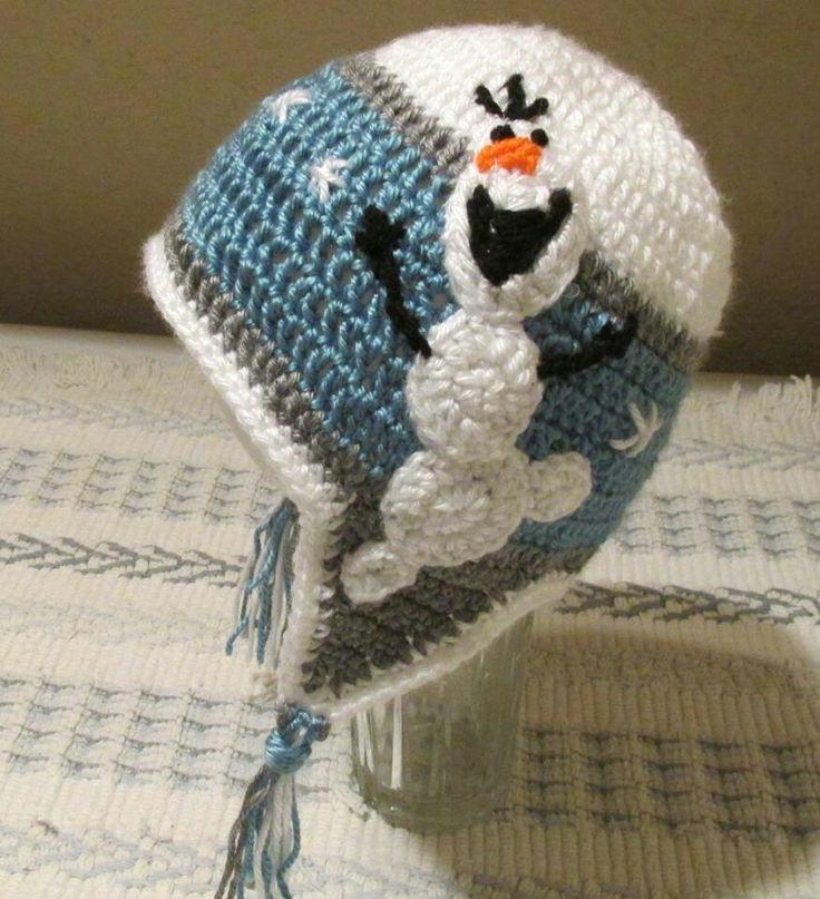 Crochet hat with ear flaps, winter snowflake Frozen hat. Nopattern, bad link.