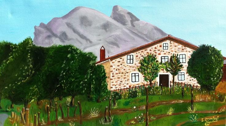 Caserio Iturralde, Pais Vasco. oleo sobre lienzo