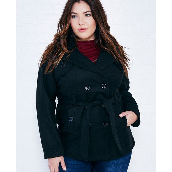 Ambiance Apparel  Soft Belted Peacoat ($33) ❤ liked on Polyvore featuring plus size fashion, plus size clothing, plus size outerwear, plus size coats, black, plus size, wet seal, pea jacket, black peacoat and plus size pea coat