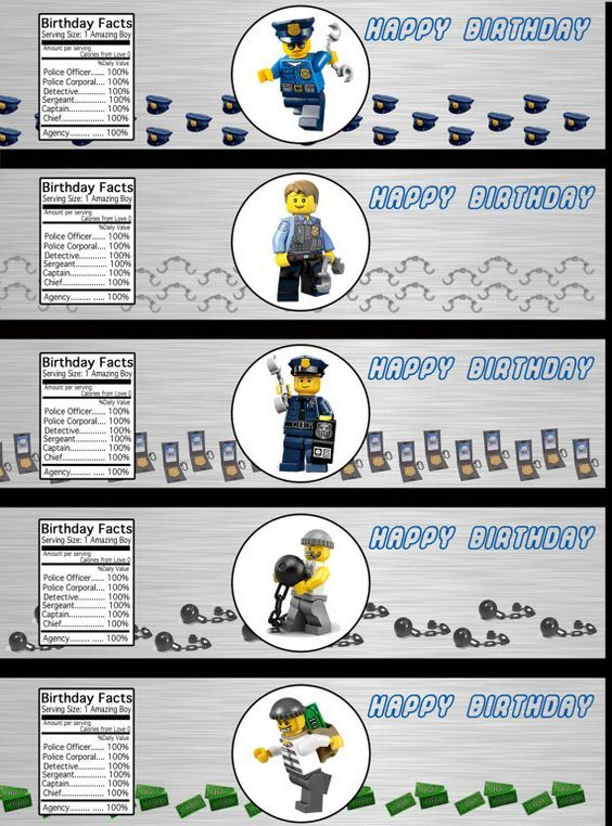 Lego City Police Department Waterbottle Labels by LCMomCreations:
