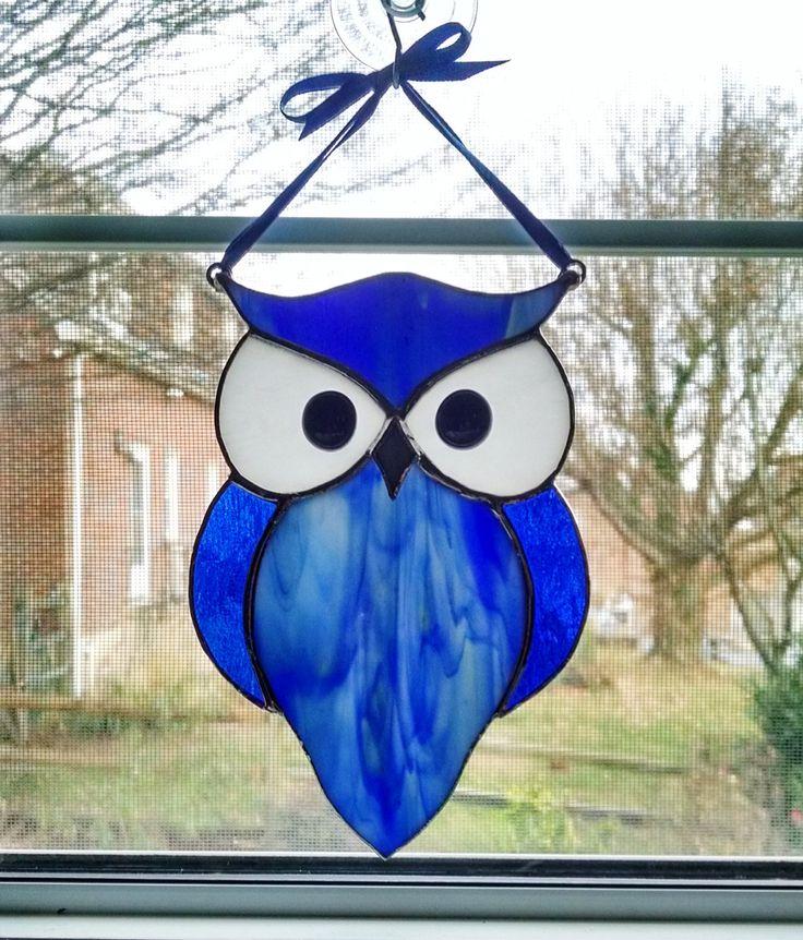 Stained Glass Owl Suncatcher - Blue Owl - Nature Decor