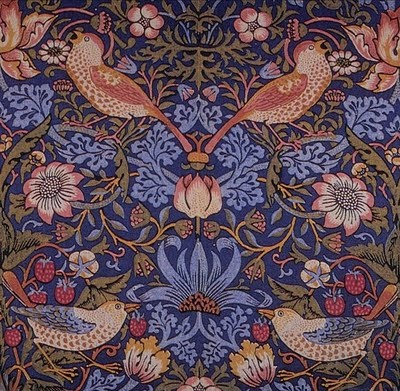 William Morris Fan Club: fabric -  beautiful bird motif