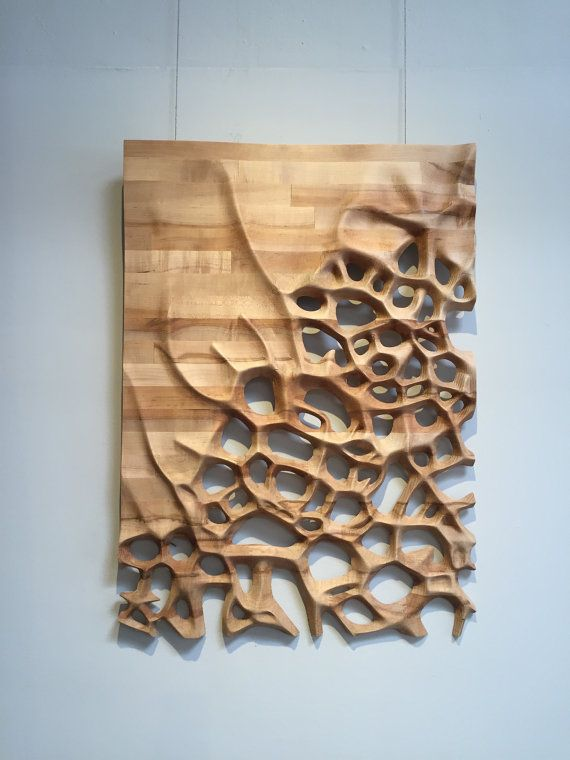 Wall hanging, wood sculpture, Maple butcher block, organic motif