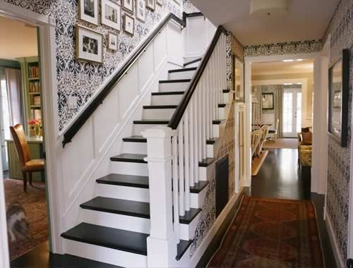 I Want To Do This For Our Upstairs Staircase! Black Steps With Black And  White Design Wallpaper For The Fronts!