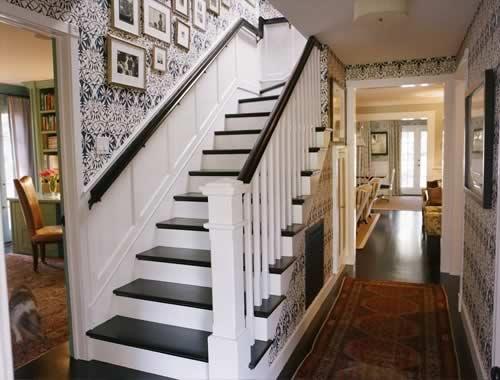 Black Foyer Stairs : Kristin panitch black tread white riser wainscot