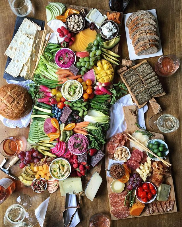 """overboard on the appetizer . """"for Thanksgiving just do one or two small, light appetizers so people don't get too full before dinner"""" . charcrudité boards with something for everyone fruit vege nuts cheese cured meats bread gluten-free crackers and even chocolate up on TheDeliciousLife.com this week...."""