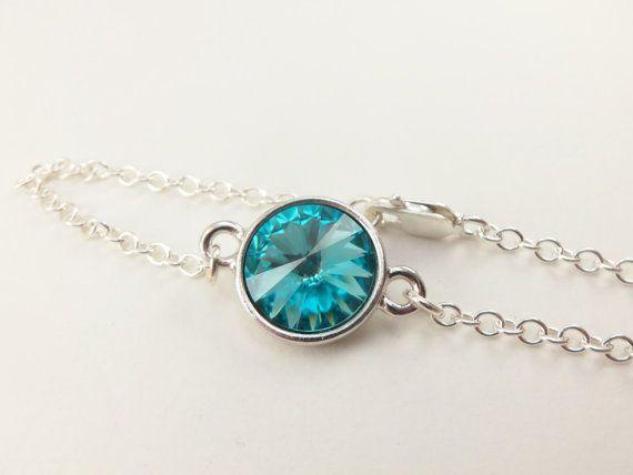 Turquoise Bracelet Sterling Silver Chain Bracelet by Jalycme